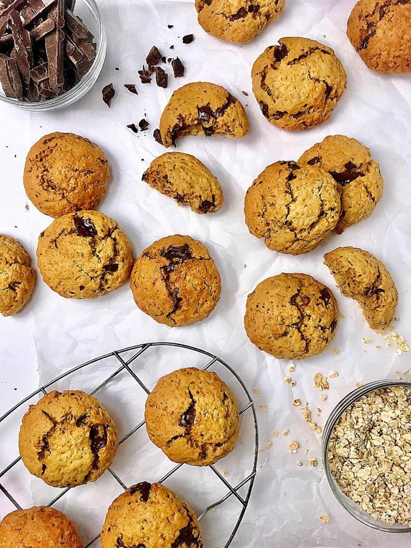 Μπισκότα-βρώμης-χωρίς-ζάχαρη-με-σοκολάτα